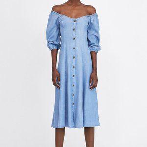 Zara Woman Button Up Off Shoulder Chambray Dress